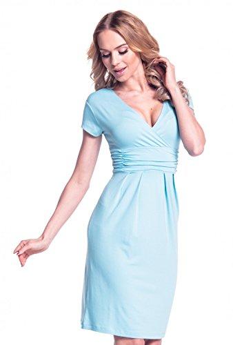 Glamour Empire Femme Robe été effet cache-coeur Manche courte Robe fourreau 573 Light Blue