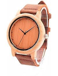 Hombres y mujeres de madera tabla de sándalo reloj de mesa de moda de moda correa de cuero de alta calidad relojes de madera de alta calidad