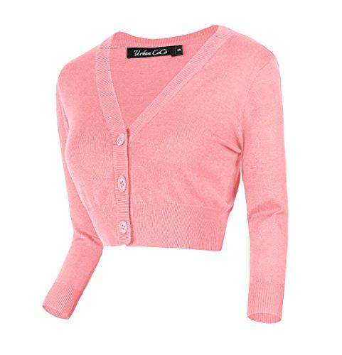 Urban GoCo Damen V-Ausschnitt Kurz-Strickweste Strickjacke (XL, rosa) Kurze Jacke