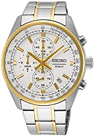 Seiko Chronograph with Tachymeter BiColour Stainless Steel Watch, SSB380P1