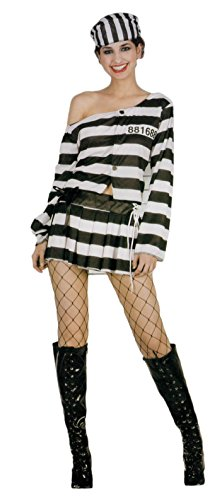 men Kostüm Sträfling Häftling für Karneval Fasching Halloween Parties - Größe: DE 36 / (FR:38) (Frauen Häftling Kostüm)