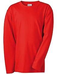 James & Nicholson - Camiseta de manga larga para niño (talla M) rojo rojo Talla:large