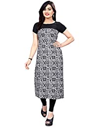 Glance Designs Woman's Straight Cut Digital Printed Crepe Kurti