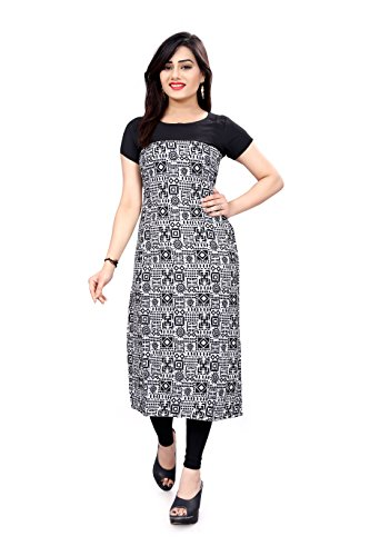 Glance Designs Woman's Red and Black Straight Cut Digital Printed Crepe Kurti...