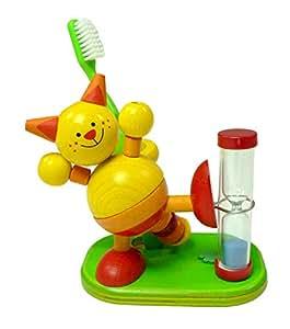 Hess Mobile en bois pour enfant jouet Chat support pour brosse à dents avec minuteur