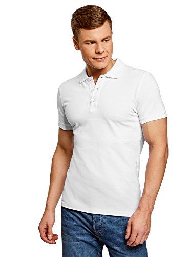 oodji Ultra Herren Pique-Poloshirt, Weiß, DE 50/M
