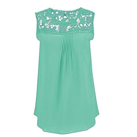 HARRYSTORE Woman Lace Sleeveless Pleated Tank T-Shirt Splice Chiffon Vest Top Sleeveless Blouse(S-XXXXXL) (L, Green)