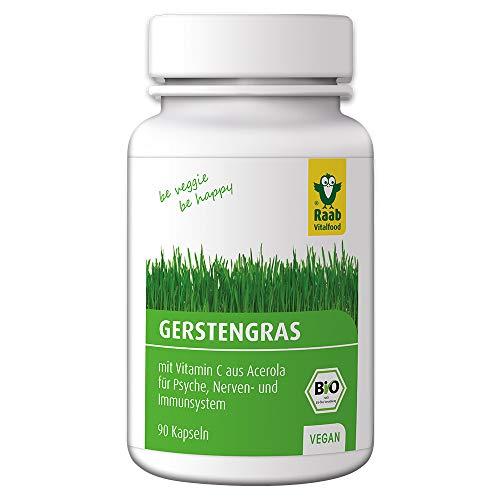 Raab Vitalfood Gerstengras-Kapseln mit natürlichem Vitamin C aus Acerola, 90 Stück, vegan, glutenfrei, hergestellt & laborgeprüft in Deutschland, 27 g