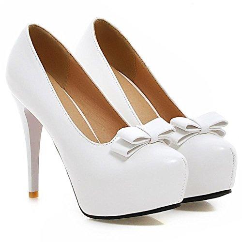 COOLCEPT Femmes Mode Talon Aiguille Talons hauts Escarpins Slip on with Arc Extra Sizes Blanc