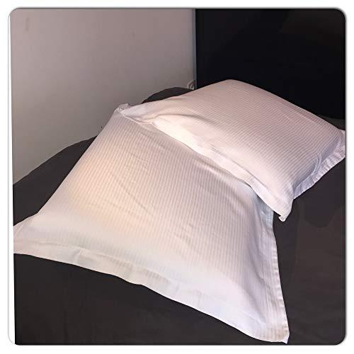 CORR Taie d'oreiller carrée 65x65 cm Blanc Lot de 2 avec Volant Bande Satin