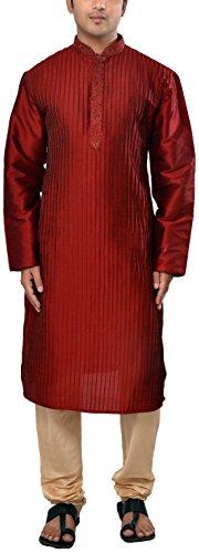 Manyavar Men's Silk Kurta Churidar (8903035170354_S952154-307-S_Maroon and Beige)