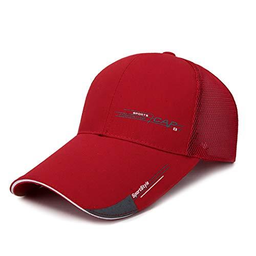 Ozq-hat Baseball Cap Halbe Mesh verstellbare Mütze Hut Unisex Polo Stil klassischen Sport Casual Plain Sommer Sonne Hut Peaked Cap,red,M (Plain Sonne Hut)