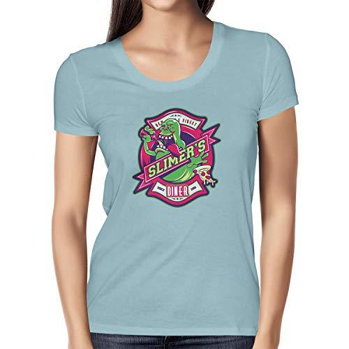 NERDO Slimer's Diner - Damen T-Shirt, Größe M, Hellblau