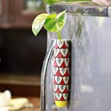 Lazy Gardener Magnetic Hydroponic Planter with Cleaning Brush | Unique Ceramic Fridge Magnet - Handmade, Handpainted - Red and Yellow (Pack of 1)