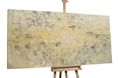 'Morgenlicht' 200x100cm | Abstrakt Struktur Beige Gelb | Modernes Kunst Ölbild
