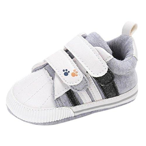 FNKDOR Baby Neugeborene Schuhe, Jungen Mädchen Klettverschluss Weiche Rutschfest Lauflernschuhe (6-12 Monate, Weiß)