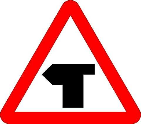 Kreuzung, mit Priorität über Fahrzeuge aus der linken. Road Safety Sign Schild aus Aluminium–3mm mit 2Streifen Ausgestattet zu hinten für die Montage auf Post 300mm x (T-post Clips)