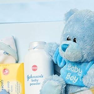 Baby Box Shop - Baby Shower Hamper for New Baby Boy with Newborn Essentials Including Teddy Bear and Blue Keepsake Box