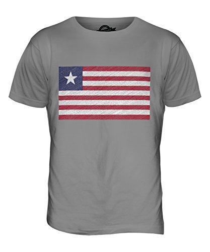 CandyMix Liberia Bandiera Scarabocchio T-Shirt da Uomo Maglietta Grigio chiaro
