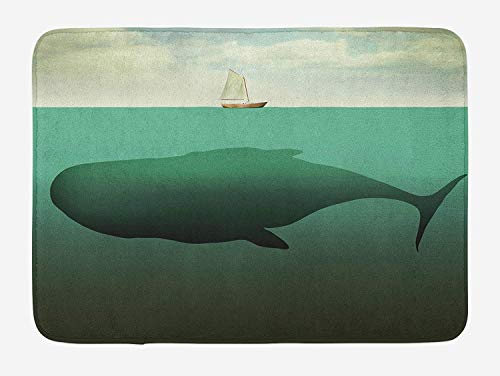 ERCGY Fantasy Bath Mat, Surreal Giant Whale in The Middle of Sea and Little Sailboat on The Surface Print, Plush Bathroom Decor Mat with Non Slip Backing, 23.6 W X 15.7 W Inches, Green Beige - Little Giant Trailer