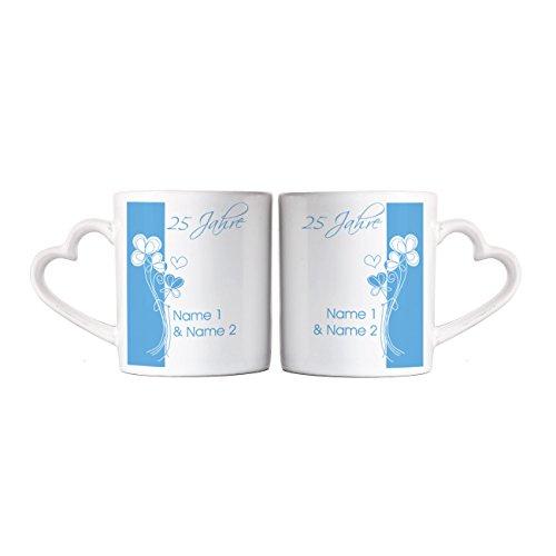 Privat Tasse Silberhochzeit Paartassen mit Namen
