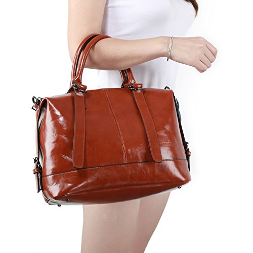 Handbags,Ladies Classic Tote Bags SPSHENG Premium Leather Handbags for Work School (1-Brown) Brown