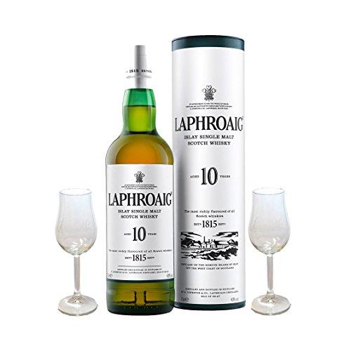 Geschenkidee 6: Laphroaig Single Malt Scotch Whisky 10 Jahre 0,7l und 2 Gläser -10{26eabfa3353576faf300fc5d2dbb29129cda4e79e45c51908ad2a61f941d0473} Rabatt