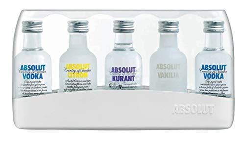 Absolut Five Vodka Set – 5er Pack Absolut Vodka Mix mit Absolut Vodka Original, Absolut Kurant, Absolut Citron & Absolut Vanilia – 5 x 50 ml
