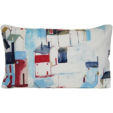 ST IVES casas de playa funda para cojín rectangular azul y rojo Patrón Funda de almohada