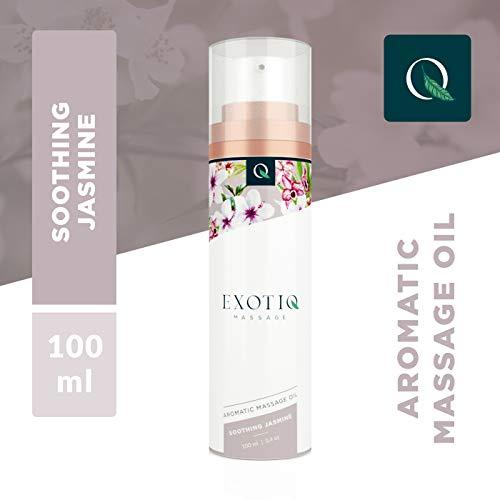 Exotiq Aromatico Olio di Massagio Gelsomino Lenitivo (100 ml - 3.4 oz) - Ideale per un Massaggio Erotico - Effeto Stomlante; Profumo di Gelsomino, Afrodisiaco, Maneggevole Pompa di Dosaggio