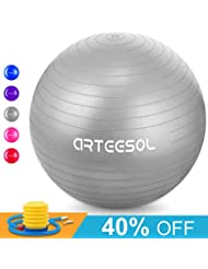 arteesol Gymnastikball, Balance Ball 45cm/55cm/65cm/75cm Yoga Ball mit Pumpe Anti-Burst Fitness Balance Ball für Core Strength