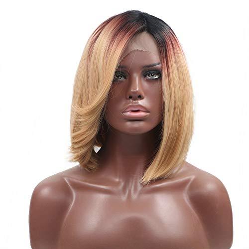 Damen Kurzhaarperücke, Bob-Drag Queen, schwarze Wurzeln, Ombre, rot-blond, Spitzenfront, 3 Farbtöne, Party, Cosplay, Sommer, kühle Schulterlänge