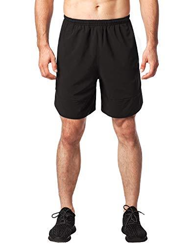 LAPASA Herren Sportshorts, Fitnesshose, Trainingshose, Sporthose, kurz, mit Innensilp und Tasche, Verstellbarer Kordelzug MEHRWEG- M027 (Schwarz(7