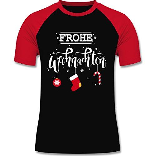 Weihnachten & Silvester - Frohe Weihnachten Lettering - zweifarbiges Baseballshirt für Männer Schwarz/Rot