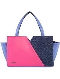 Veuza California Premium Jacquard And Faux Leather Fuschia Blue Handbag