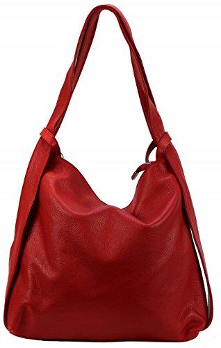 BZNA Bag Mia Rot Backpacker Designer Rucksack Ledertasche Damenhandtasche Schultertasche LederItalyNeu