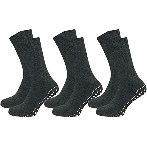 GAWILO 3 Paar Damen & Herren Stoppersocken - ABS Socken - Wintersocken - Thermo - Vollplüsch - ideal bei kalten Füßen (39-42, grau)