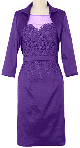 MACloth Women Taffeta Lace Mother of Bride Dress with Jacket Evening Formal Gown purple