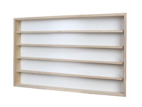 V18 - Vitrine murale 150 cm x 58 cm x 15 cm collection miniature collecteur affichage pion petit objet vitres en plexiglas clair meuble rangement étagère bois nature