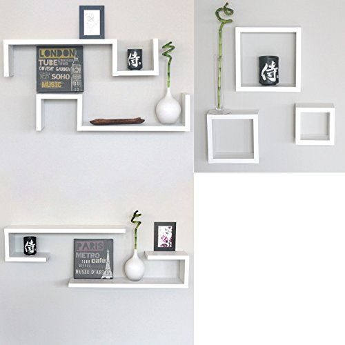 Set 7 mensole bianche cubi design moderne mensola camera for Mensole da muro