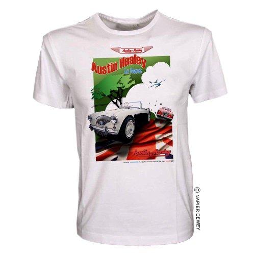 Austin Healey LE Mans–T-Shirt Gr. S bis XXL Gr. XXL, Weiß (Weißes Austin T-shirt)