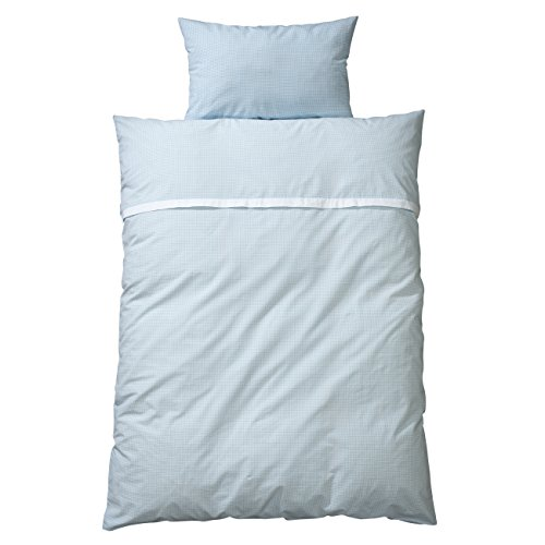 wellyou, baby-kinder bettwäsche, aus 100% Baumwolle,Kinderbettwäsche hell-blau weiß Vichy-Karo, Maße: 100x135 cm