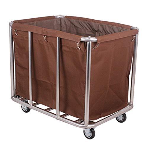 HH- Wäschesortierer Wäschewagen-Wagen Mit 4 Rollen, Wäschesortierer-entfernbare Gewebebeutel, Wäschebehälter Auf Rädern for Hotel-Badezimmer (Color : Brown)
