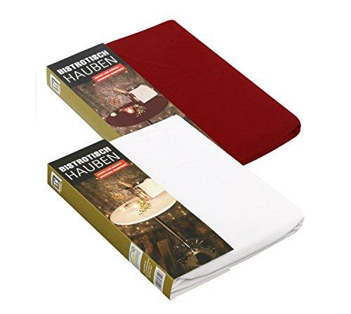 Brandsseller 2er Pack Tischhaube Rund Tischdecke Strech-Haube für Bistrotische/Stehtische - Farbe: Rot - Größe: 60 cm