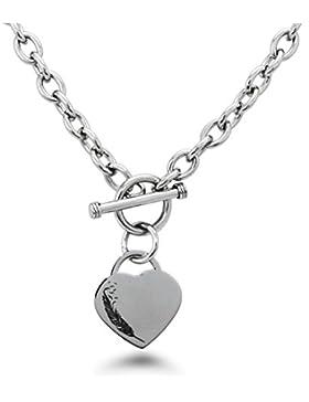 Edelstahl Feder Vögel Gravierte Herz Charme Armband und Halskette