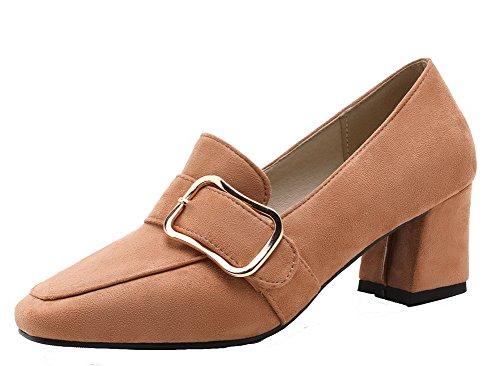 Couleur Frosted Carré Talon Tire Chaussures Correct Légeres VogueZone009 à Unie Jaune Femme cSwEgYWqy0