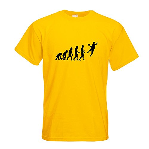 KIWISTAR - Evolution Handballer T-Shirt in 15 verschiedenen Farben - Herren Funshirt bedruckt Design Sprüche Spruch Motive Oberteil Baumwolle Print Größe S M L XL XXL Gelb