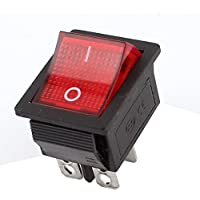 DealMux AC 110V-220V Red Lamp On/Off Snap-In Panel Mount SPST Rocker Switch