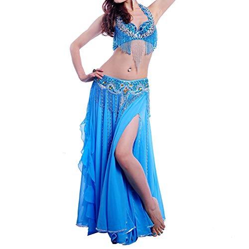 CX Bauchtanz Kostüm Performance Kostüm Tanzanzug, Perlen Shiny BH Bund Kleid A-D, 7 Farben 3 STÜCKE (Farbe : Blau, größe : S)