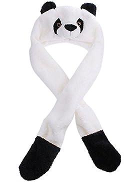 Aolvo cute Plush Cartoon panda invernale con cappuccio cappello beanie cappello sciarpa guanti, Panda, taglia...